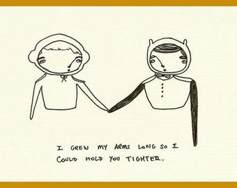Long Arms - cute illustration postcard