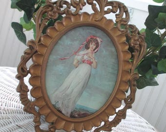 Vintage Pinky and Blue Boy * Gilt Frames * Convex Glass * Made in Italy