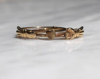 VICTORIAN FEDE ANTIQUE 10k rosegold jointed vintage triple love ring size 6.75 circa 1880s