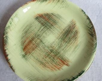 Vintage Vernonware Raffia Dinner Plates 2 Brown Green