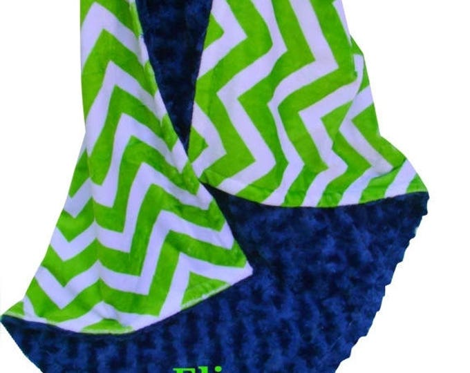 SALE Navy Blue Rose Swirl and Lime Green Chevron Minky Baby Blanket, available in multiple sizes, Can Be Personalized