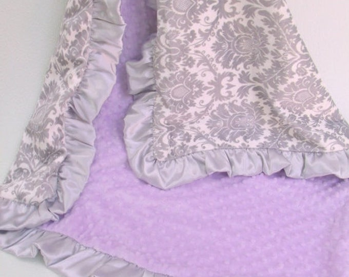 SALE Lavender and Gray Damask Minky Baby Blanket Can Be Personalized