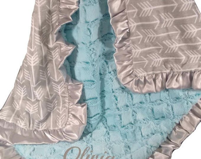 SALE Saltwater Pool Green and Silver Gray Arrow Minky Baby Blanket, three sizes