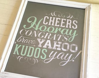 Framed Celebration Congratulations Print in Distressed Farmhouse White Frame Wall Hanging 8x10