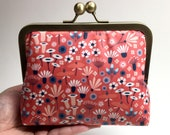 Kisslock Clutch Purse/Makeup bag - Medium - Wildflowers - Laminated cotton
