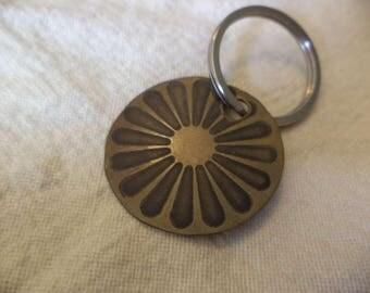 Romani Wheel  Etched Brass keychain