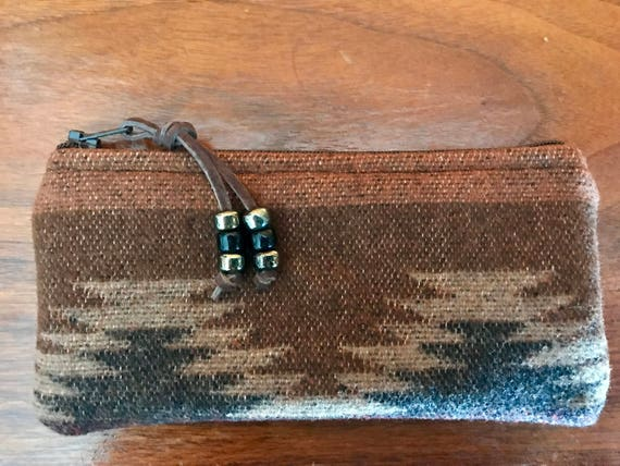 Wool Glasses  Case / Tampon Case / Zippered Pouch Brown & Black