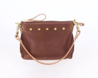 Brown Leather Mini Bag ~ Chocolate Brown Leather Wristlet