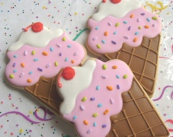 Ice Cream Cone Cookies - Favors - Large Ice Cream Cone Cookies - 1 Dozen