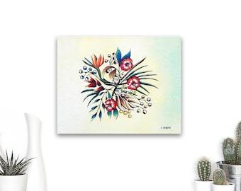 Tropical Mandala Painting on Canvas, Botanical Mandala Wall Art, Flower Mandala, Floral Mandala