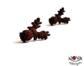 * Stud / Stud Earrings * Rudolph deer