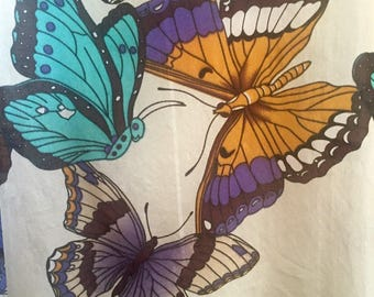 Butterfly Silk Tank Top - butterfly print - racerback - boho - festival tank top - M - L - chic silk tank - handmade silk top - troppobella