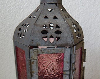 christmasinjuly Hanging Candle Fixture Moroccan Stye, Pink Glass and Metal