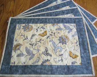 Quilted Placemats in a Yellow and Gray Floral with Butterflies - Set of 4 - NEW PATTERN