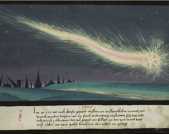 "THE AUGSBURG WUNDERZEICHENBUCH - ""A terrible comet"" Folio 52 ~ From the ""Book of Miracles ~ 16th Century book of wonders"