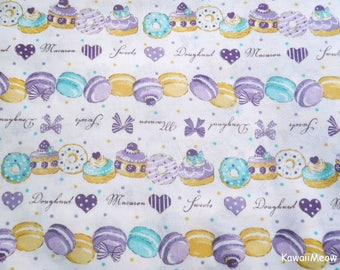 Japanese Fabric - Sweets Macaroons Doughnuts Purple - Half Yard (fa170712)