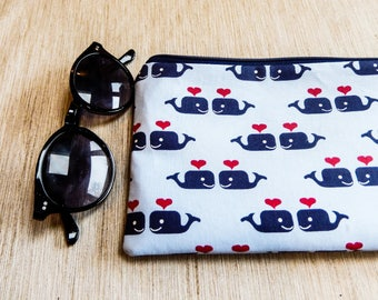 Whales Pouch, Case, Whales Zipper Pouch, Fabric Pouch, Fabric Zipper Pouch, Change Pouch, Whale Coin Purse, Gift for Her, Gift for Dad, Grad