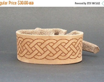 On Sale Safari Celtic Leather Cuff / Bracelet / Free shipping