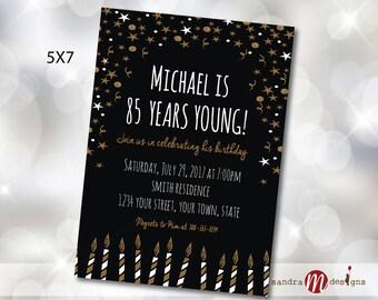 Black and Gold Invitation 80th, 90th,  60th, 50th, 40th, 30th Birthday Invite, photo card, invitation