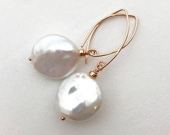 White Pearl Earrings with 14k Rose Gold Fill. Cultured Freshwater Pearl Coin Earrings. Rose Gold