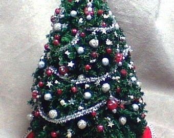 Holiday Sale 40% Off - Handmade Red and Silver Christmas Tree 1/12 scale (one inch scale)