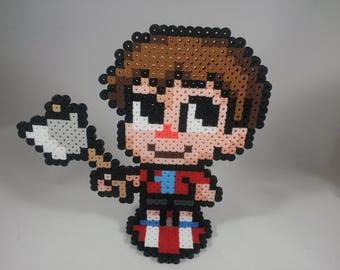 Villager - Animal Crossing - Super Smash Bros - Perler Bead Sprite Pixel Art Figure Stand or Lanyard Necklace