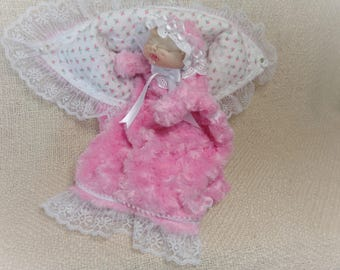 Soft Sculptured Doll Puppet in  Sleeping Bag