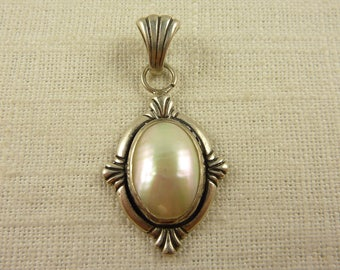Vintage Sterling and Pearl Oval Pendant