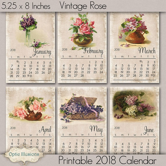 2018 Calendar Vintage : Printable calendar vintage roses and flowers instant