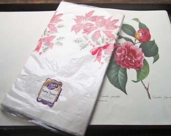 2 vintage Christmas Party Table Cloths ~ Poinsettia Holiday Plastic, Paper Covers ~ 1960's Party Supply ~ Office Party ~