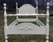 Twin  Chic bed, shabby White Bed, Rose Appliques, Vintage, Painted Restored Lightly Distressed Furniture