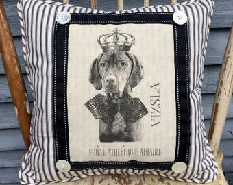 Vizsla in French Crown Pillow, French Country Decor, Farmhouse Decor, Linen Print, Vizsla Printed on Linen with Crown