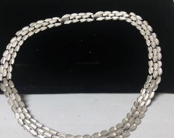 Classic TRIFARI Silver Link Necklace, Adjustable Sections, Textured Leaf #B589