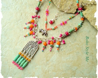 Boho Colorful Gypsy Indie Necklace, Bohemian Jewelry, Multiple strands, Hand Knotted, Boho Style Me, Kaye Kraus