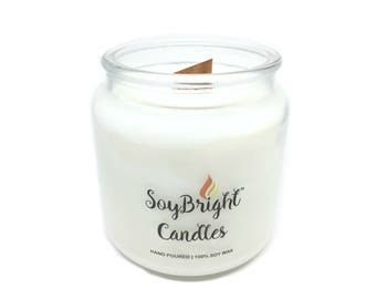 SoyBright™ Natural Soy Wax Cedar Leaf and Lavender Apothecary Jar Candle | Wooden Wick | Hand Poured | Many More Scents Available - 16 oz