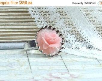 Pink Cameo Ring Victorian Ring Pink Rose Ring Rose Cameo Ring Pink Flower Ring Adjustable Ring