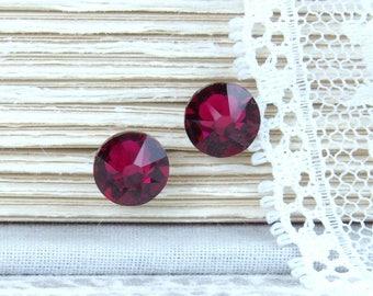 Ruby Studs Crystal Stud Earrings Rhinestone Studs July Birthstone Ruby Crystal Studs Surgical Steel Studs