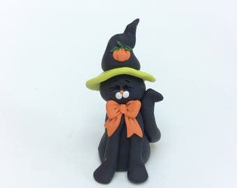 Halloween Black Cat with Witch hat by Helen's Clay Art