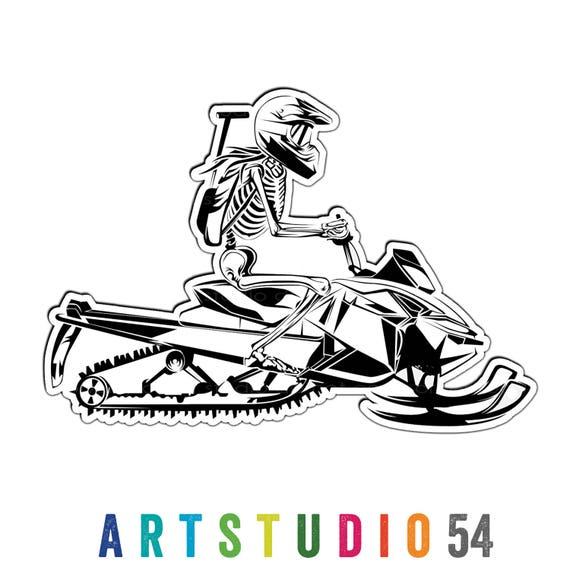 Weatherproof Vinyl Sticker - Snowmobile Girl Skeleton - Unique, Fun Sticker for Car, Luggage, Laptop - Artstudio54