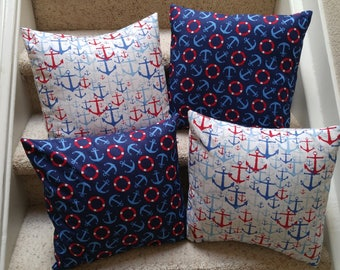 Set of 4 Nautical Pillow Covers, 16x16 pillow covers, Nautical, Decorative Pillow Covers, 4 Pillow Covers, Indoor Outdoor Pillow Covers