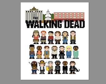 The Walking Dead Season 5A Pixel People Character Cross Stitch PDF PATTERN Only
