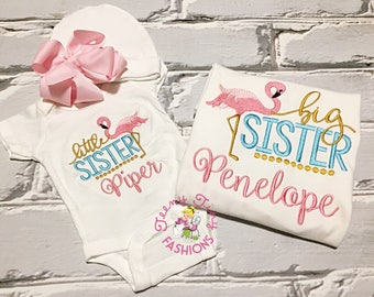 Coming home outfit ~ Big Sister shirt ~ Little sister shirt ~ flamingo sister shirts ~ flamingo theme pregnancy announcement ~ flamingos