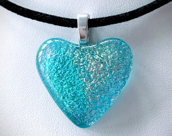 Free Necklace Dichroic Fused Glass Heart Pendant