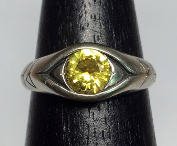Jeweled PAX Eye Ring, Sterling Silver and Yellow Sapphire Peace Eye-US size 7