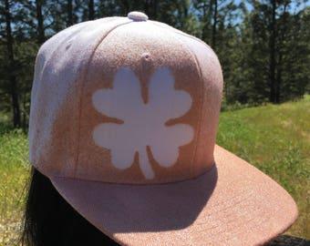 Four Leaf Clover Flat Brim Snapback Hat