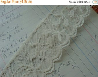 ON SALE Vintage French Netted  Ivory Scalloped Lace Yardage