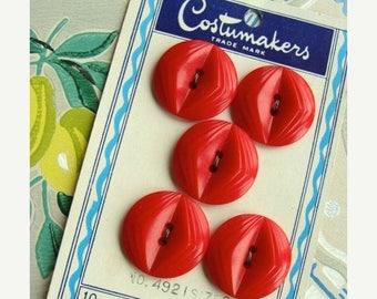 ONSALE One Vintage Kitsch Old Mop Red Button set on Original Card