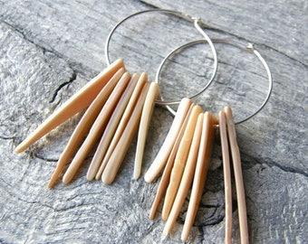 Summer Sale 20% Off Shell Spike Earrings, Sterling Silver Hoops, Tusk Tribal Earrings