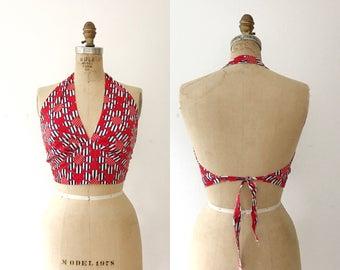 vintage halter / stars & stripes blouse / 70s cotton halter
