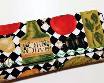 Coupon Organizer Olive Oil and Pasta  / Storage Case with Dividers / Check Book Case